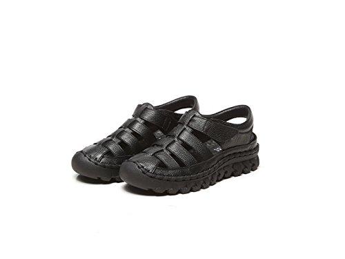 DANDANJIE Sandalias para Mujer Verano Zapatos Hechos a Mano Originales talón Plano Sandalias Ocasionales de Cuero al Aire Libre (Negro Blanco) Zapatos caseros Negro
