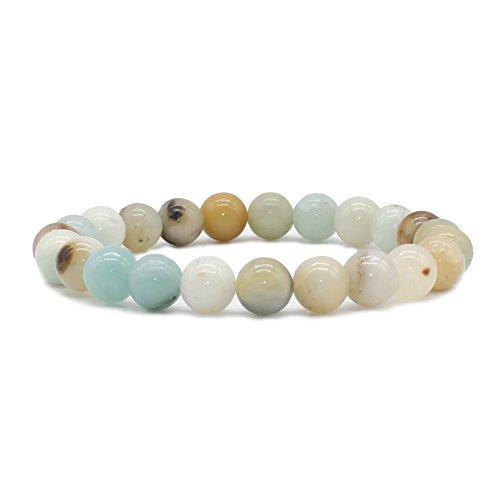 Bivei Natural Amazonite Malachite Kyanite Aquamarine Gem Semi Precious Gemstone Round Beads Crystal Stretch Bracelet(Multi Color Amazonite) - Multi Jewelry Bracelets Gemstone Stone