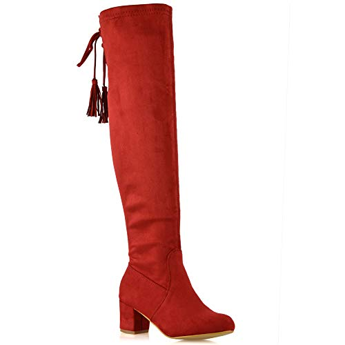 ESSEX GLAM Womens Chunky Block Low Mid Heel Faux Suede Over The Knee Boots Stretch Leg Calf Shoes (9 B(M) US, RED Faux ()