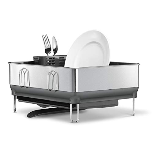 simplehuman Kitchen Compact Steel Frame Dish Rack with Swivel Spout Fingerprint-Proof Stainless, Grey Plastic (Certified Refurbished)