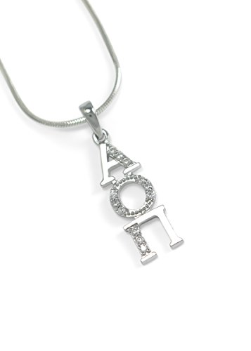 The Collegiate Standard Alpha Omicron Pi Sterling Silver Lavaliere with Czs