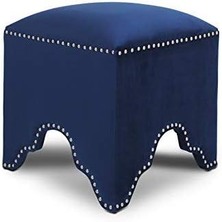 Jennifer Taylor Home Jordan Art Deco Nailhead Ottoman Navy Blue