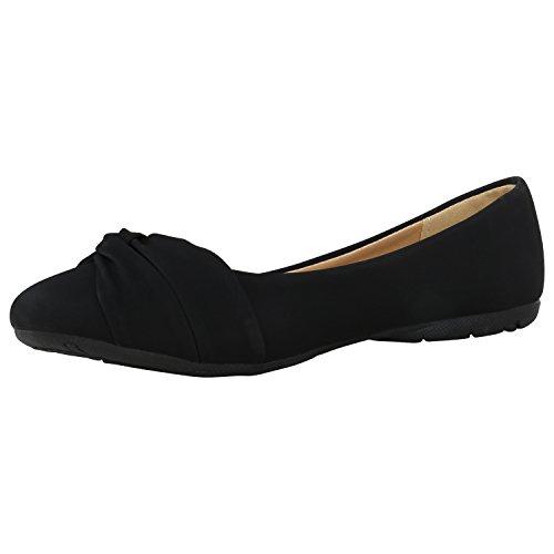 Stiefelparadies Klassische Damen Ballerinas Metallic Slippers Bequeme Flats Glitzer Party Schuhe Abendschuhe Schleifen Flandell Schwarz Camargo