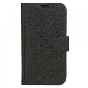 Diagonal Plaid Leather Case for Samsung I9500 Black