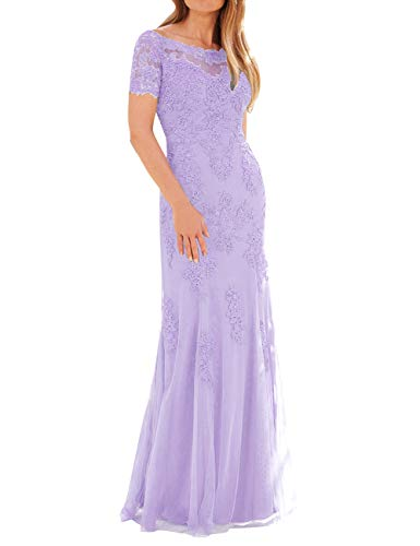 Evening Lace Dress Formal of The Tulle Lavender Mother Sleeves with Size Bride Plus Gown Wnx1nz