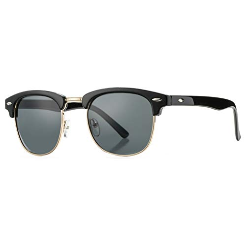 Pro Acme Classic Semi Rimless Polarized Sunglasses with Metal Rivets (Retro Black) -