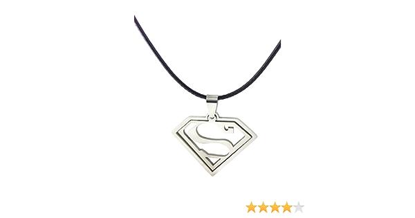 cha/îne /à billes 40,6 cm DC Comics Jewelry Superman pendentif en acier inoxydable avec logo d/écoup/é
