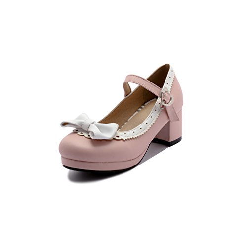 (ELFY Women's Cute Lolita Cosplay Shoes Bow Mid Chunky Heel Mary Jane Pumps Pink)