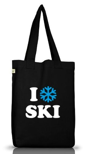 Shirtstreet24, I LOVE SKI, Apres Ski Wintersport Jutebeutel Stoff Tasche Earth Positive (ONE SIZE)