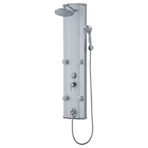 LessCare LSP5-C Modern Shower Panel System with Massage Jets, Grey