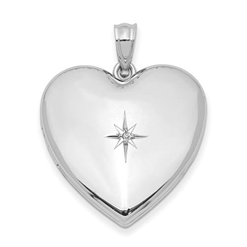 925 Sterling Silver 24mm Diamond Star Design Heart Photo Pendant Charm Locket Chain Necklace That Holds Pictures Fine Jewelry For Women Gift Set -