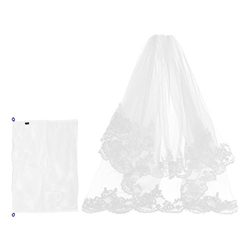 Kloud City Bridal Veil Fingertip Length 1 Tier 1.5M Floral Embroider Lace Edge Wedding Veil with Comb by KLOUD City