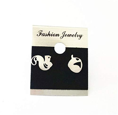 Cute Squirrel & Acorn Stud Earing Women Fancy Party Design Girl BFF Jewelry Gift (silver-plated-stainless-steel)