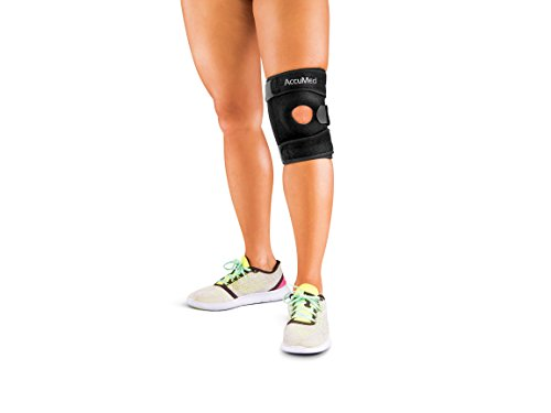 AccuMed Knee Brace for Arthritis, Pain, Joint and Muscle Support, Recovery, Padded Patella Opening Made with Neoprene Heat-Retaining Material, Four Supportive Springs & Adjustable Straps