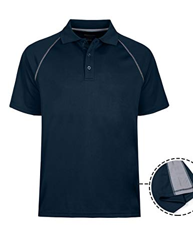 Men's Dri Polo Active Sports Performance Short Sleeve Shirt Navy Blue -
