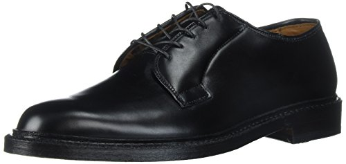 Allen Edmonds Men's Leeds Plain Toe Blucher Oxford, Black Calf, 9.5 D US (Toe Shoes Plain Blucher Mens)