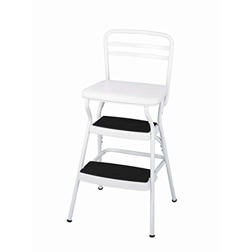 Cosco Retro Vintage White Counter Lift Up Chair / Step Stool