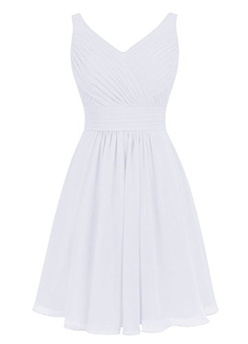 V Cocktail Dress Chiffon Neck White Evening Short Cdress Gowns Dresses Wedding Bridesmaid wxFIHxYfq