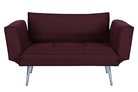 DHP Euro Sofa Futon Loveseat with Chrome Legs and Adjustable Armrests - Berry Purple (Chaise Purple)