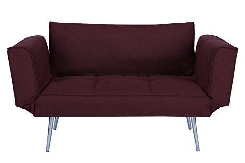 Novogratz Leyla Loveseat, Multifunctional and Modern Design, Adjustable Armrests to Create a Couch Sleeper - Berry (Left Arm Settee)