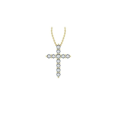 14k Yellow Gold timeless cross pendant set with 11 glistening round white diamonds, 1/4 ct t.w. (H-I Color, I1 Clarity), hanging on a 18