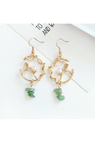 Creative Leaves Branches Popular Bird Earrings Earring Dangler Eardrop (Green Ear Hook one (Ivory Leaf Chandelier)