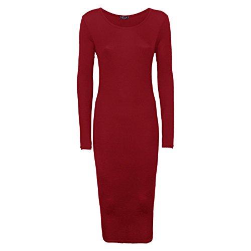 (Crazy Girls Womens Ladies Long Sleeve Scoop Neck Midi Dress (US16/18-UK20, Wine))