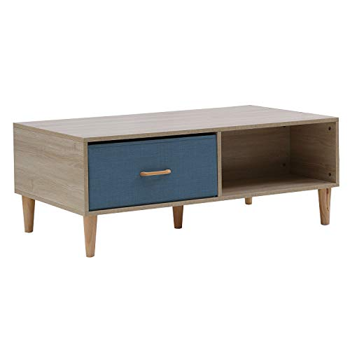 HOME BI Coffee Table with Four Drawers and Two Storage Bins Coffee Table