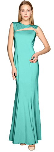 Gown Sheath Dress Cut Turquoise Party Formal Prom Evening out Jersey Simple MACloth HIxvdZqZ