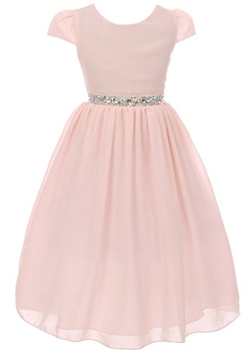 8148d129a71 Big Girls  Dress Short Sleeve Chiffon Rhinestone Belt Holiday Party Flower  Girl Dress Blush Size