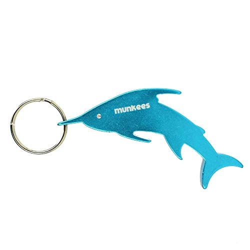 Munkees Swordfish Bottle Opener Keychain, Mini Ocean & Water Animal Key Rings, Small Pocket-Sized Sea Creature Opens Beer, Caps, Cans, Bottlecaps