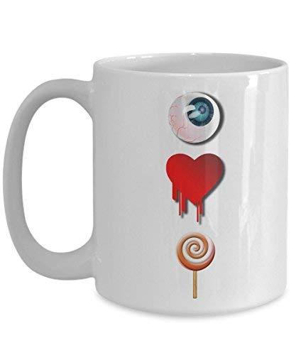 Lplpol I Love Candy Mug Funny Halloween One Eye Heart White Coffee Cup -