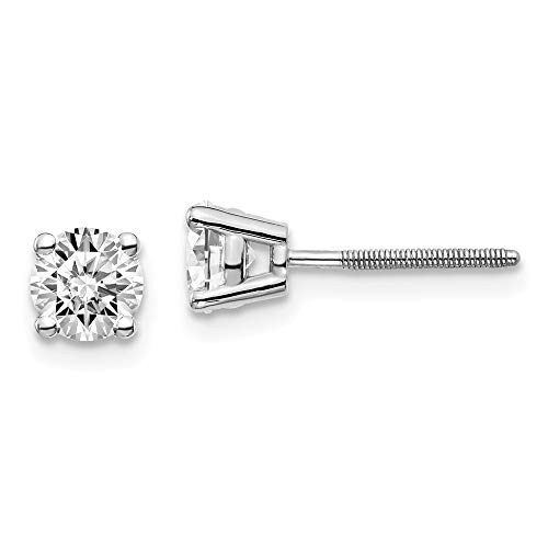 1/2ct Lab Grown Solitaire Diamond Stud Earrings Round cut 4 Prong Screw Back 14k White Gold (D-E Color, VS Clarity)
