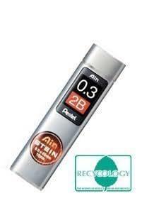 Pentel Super Ain - Minas para portaminas (0,3mm, 2B, nuevo envase)