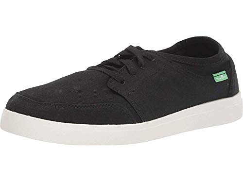 Sanuk Men's Vagabond Lace Twill Sneaker, Black, 11 M US