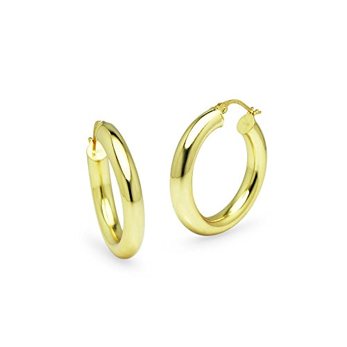 Yellow Gold Flashed Sterling Silver Round 4x25mm High Polished Hoop Earrings ()