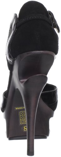 Pleaser Day & Night DELUXE-682 Damen Plateau High Heels Blk Suede-Pat Leather