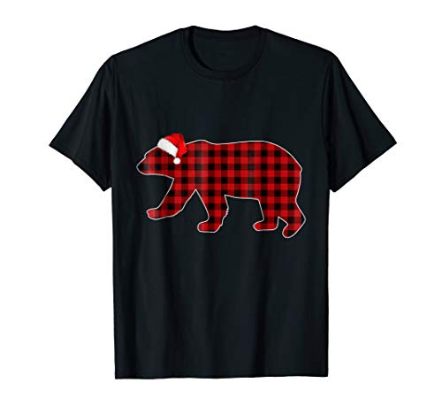 Red Plaid Polar Bears Matching Buffalo Family Pajama T-Shirt