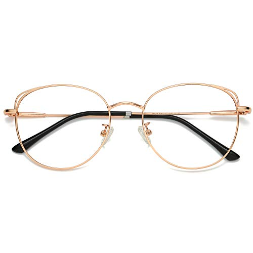 (SOJOS Cat Eye Blue Light Blocking Glasses Hipster Metal Frame Women Eyeglasses She Young with Rose Gold Frame/Anti-blue light)