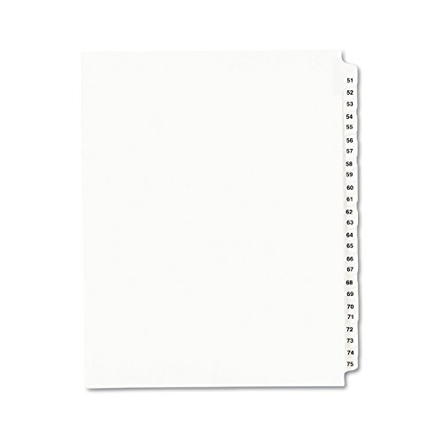Avery Legal Dividers, Standard Collated Sets, Letter Size, Side Tabs, 51-75 (01332), White