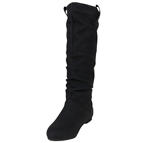 Stiefelparadies Warm Gefütterte Stiefel Damen Winterstiefel Wildleder-Optik Boots Schnallen Profilsohle Winter Schuhe Flandell Schwarz Nieten