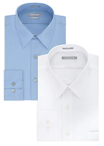 (Van Heusen Men's Poplin Fitted Solid Point Collar Dress Shirt, White/Cameo Blue, 15.5