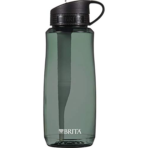 Sports Bottle Oz 34 (Brita 34 Ounce Hard Sided Water Bottle with 1 Filter, BPA Free, Black)