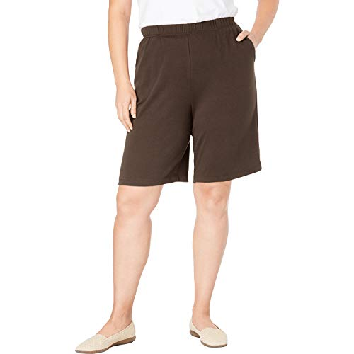 - Woman Within Women's Plus Size 7-Day Knit Short - Chocolate, 4X