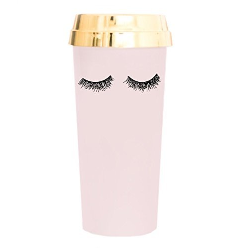Pink Eyelashes Gold Travel Mug   Makeup Lashes Decor Cute Coffee Accessories for Women Commuter Plastic Tumbler Cup with Lid 16 Ounces Hand Lettered