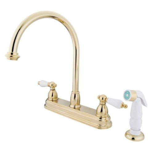 Center Kitchen Faucet Polished Brass - 2