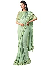green Imported Silk Sequin Embellished Gorgeous Indian Women's festival Party Saree Blouse Frill Sari 1195 2