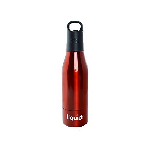 ICY BEV KOOLER STAINLESS STEEL BOTTLE INSULATOR, 1 PACK, RED, beer keeper/holder with silicone bottle stopper; cap with bottle opener and finger grip keeps beer cold longer