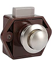 Push Button Cabinet Door Catch Lock, 20mm Opening Hole Push Button Keyless Locks, Latch Knob Cupboard for 15mm-27mm Thickness Caravan Boat Vessel desks Cupboard Cabinet Door