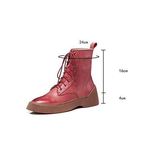 Botas Para Casuales Ocasionales Cuero Un Invierno Zapatos Caminar Combate Militar E De Zip Ejército Planos Otoño Yan Damas Con Cordones Botines Mujer XwqRRPt